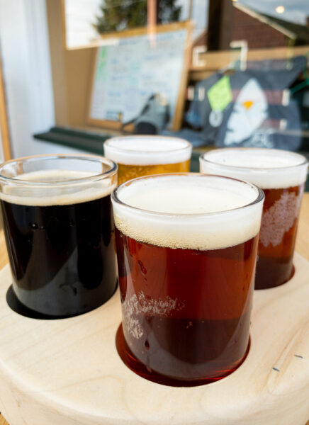 Flight of beers at Juniata Brewing Company in Huntingdon Pennsylvania