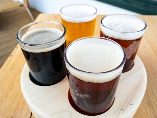 Flight of beers at Juniata Brewing Company in Huntingdon, PA