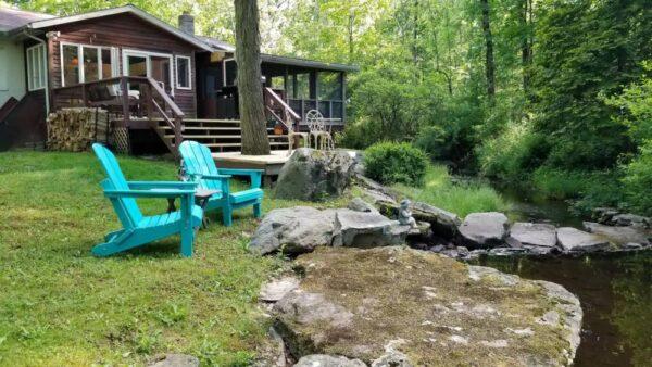 Poconos Airbnb next to a stream