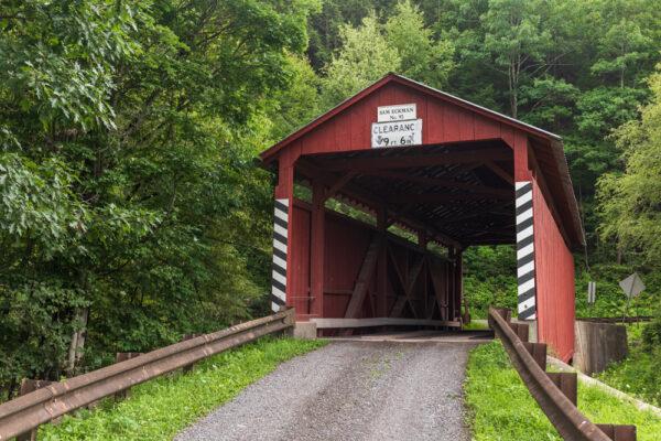 Approaching Sam Eckman Covered Bridge in Columbia County Pennsylvania