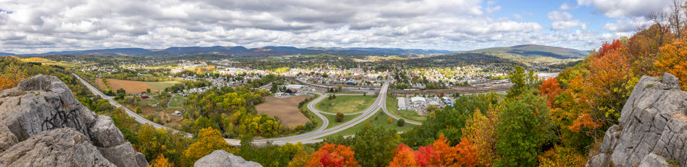 Panoramic image of Hollidaysburg PA from the Chimney Rocks