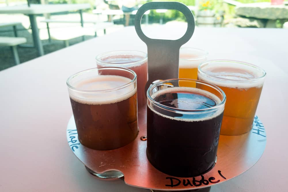 Flight of Beer at Endless Brewing in Montrose, Pennsylvania