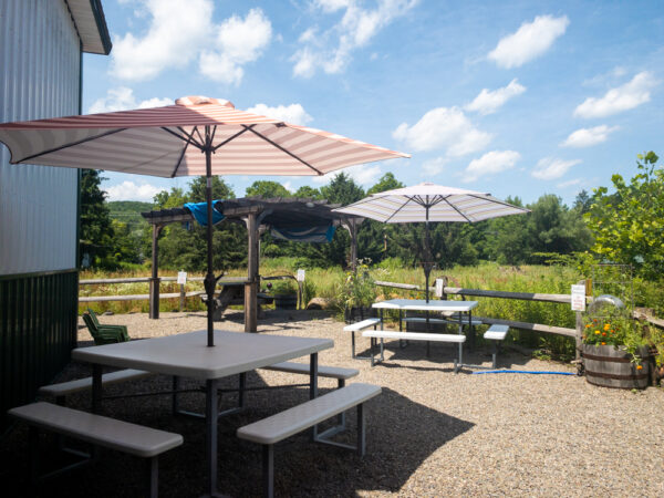 Outdoor seating at Endless Brewing near Montrose Pennsylvania