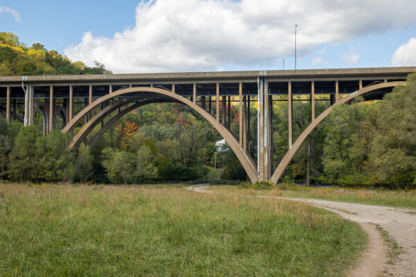 I-376 overpass on the Nine Mile Run Trail in Frick Park in Pittsburgh PA