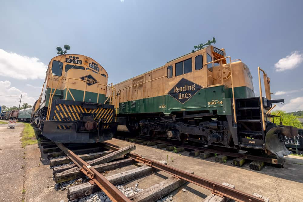 Train engines at the Reading Railroad Museum in Reading PA