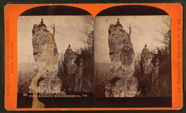Historic photo of the Chimney Rocks from the 1870s or 1880s.