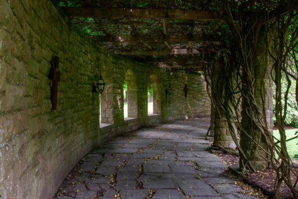 Covered pathway in the Mount Assisi Gardens in Loretto Pennsylvania
