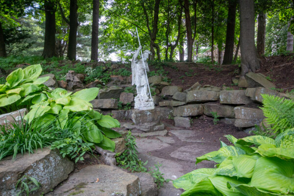 Statue of St George in Mount Assisi Garden in Loretto PA