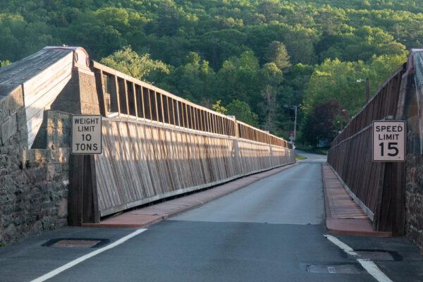 Looking down Roebling's Delaware Aqueduct in Lackawaxen Pennsylvania