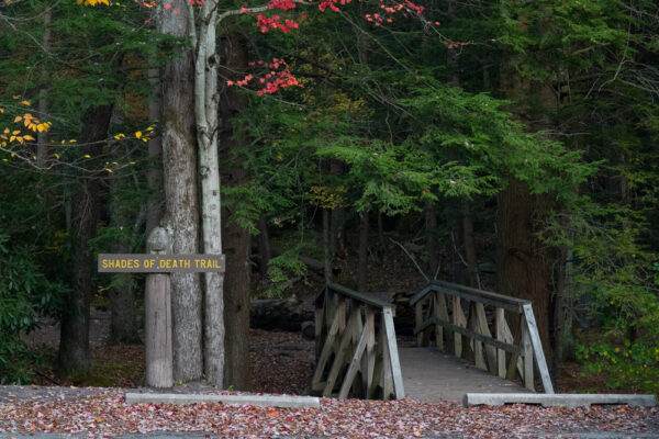 Trailhead for the Shades of Death Trail in Hickory Run State Park in PA