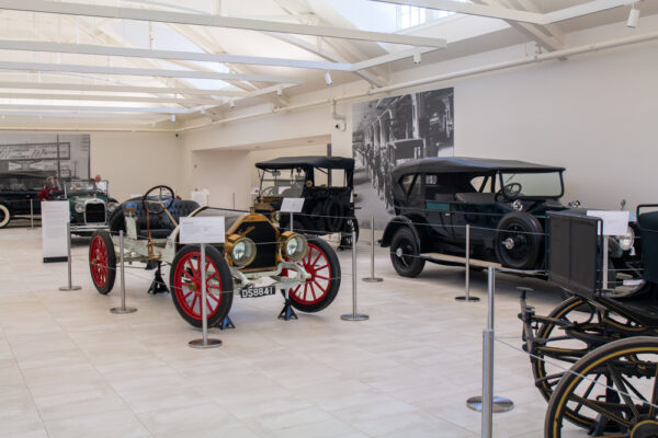 Antique automobiles in the Car and Carriage Museum at the Frick in Pittsburgh PA