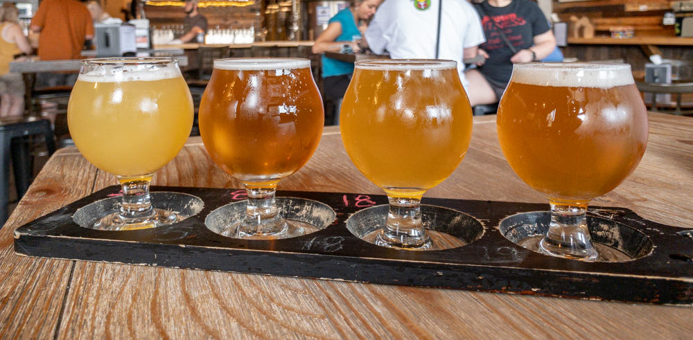 A flight of beer from Levity Brewing Company in Indiana PA