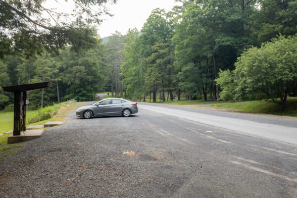 Parking Lot A in Reeds Gap State Park in Central PA