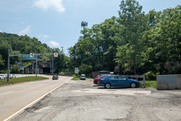 Parking area for the Seldom Seen Greenway in Pittsburgh PA