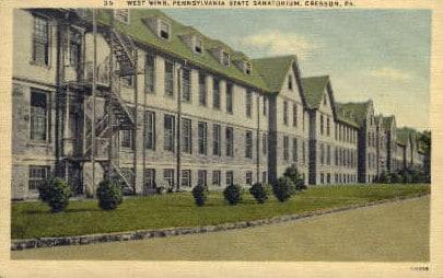 Historic postcard showing the Cresson Tuberculosis Sanatorium.