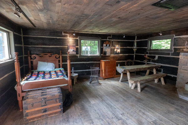 The interior of Muhammad Ali's cabin at Fighter's Heaven in Orwigsburg, Pennsylvania