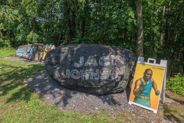 Jack Johnson boulder at Muhammad Ali's Deer Lake Camp in Pennsylvania