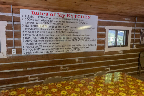 Kitchen table at Fighter's Heaven in Deer Lake Pennsylvania