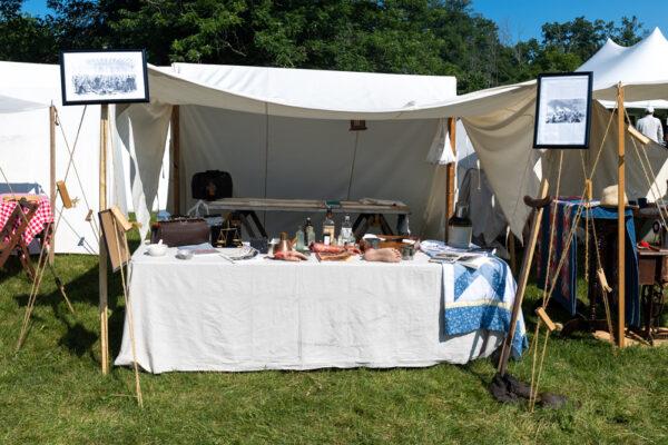 Civil War tent at the Gettysburg Reenactment at the Daniel Lady Farm