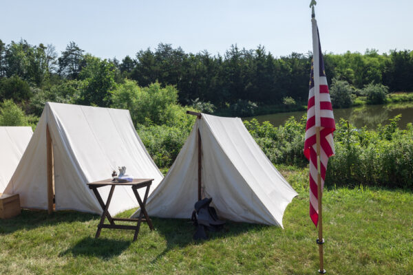 Soldiers' tents set up at at the Daniel Lady Farm in Gettysburg PA