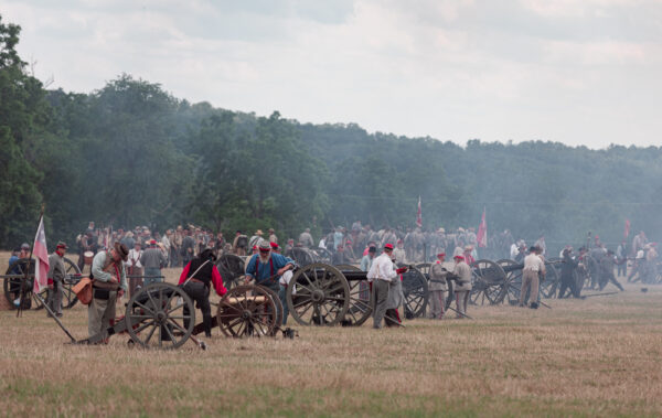 Confederate artillery during the Gettysburg Reenactment at the Daniel Lady Farm in Gettysburg PA.
