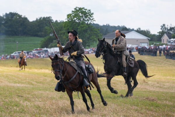 Confederate cavalry during the Battle of Gettysburg Reenactment in Pennsylvania