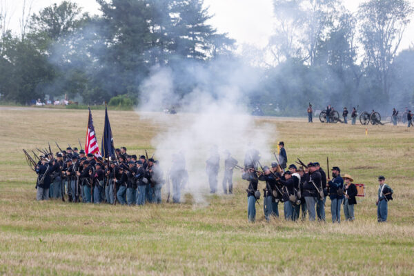 Union soldiers reenacting the Battle of Gettysburg at the Daniel Lady Farm in PA