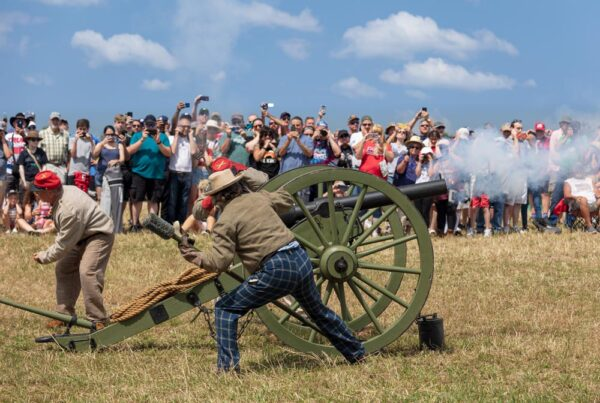 Civil War cannon being fired during the Gettysburg Reenactment in PA