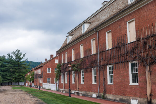 Row of buildings in Old Economy Village in Beaver County PA