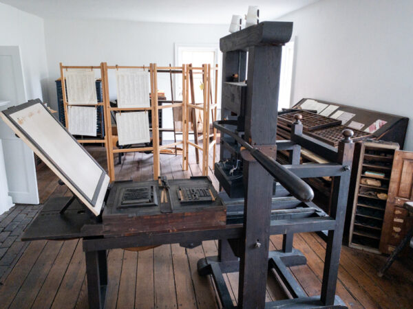 Printing press at Old Economy Village in Beaver County Pennsylvania