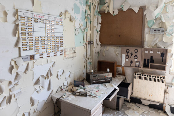 Crumbling office at the abandoned SCI Cresson near Altoona PA