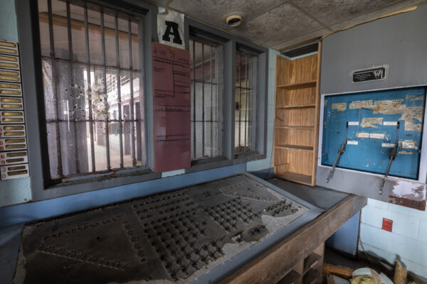 Cell block control room at the abandoned prison in Cresson, PA