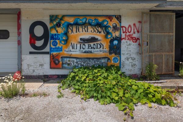 Mural on the automotive shop at the abandoned Cresson Prison.