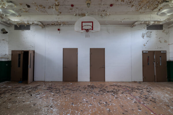 The basketball court inside the basement of the sanatorium at SCI Cresson