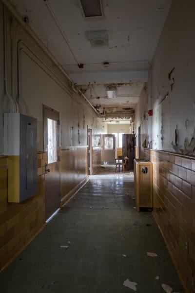 Abandoned hallway at the abandoned Cresson Tuberculosis Sanatorium in Pennsylvania