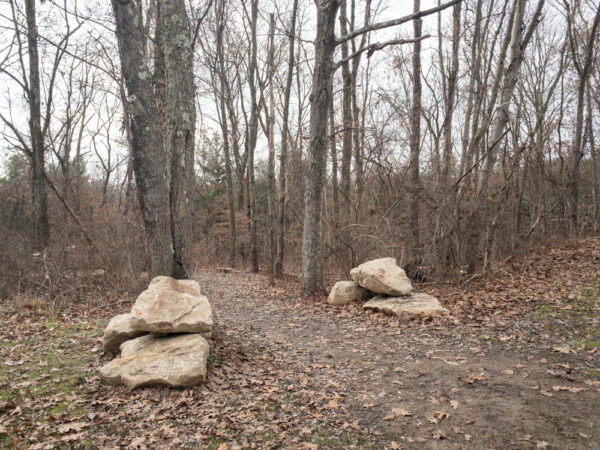 The trailhead for the Waterfall Trail in Settler's Cabin Park in Pittsburgh PA