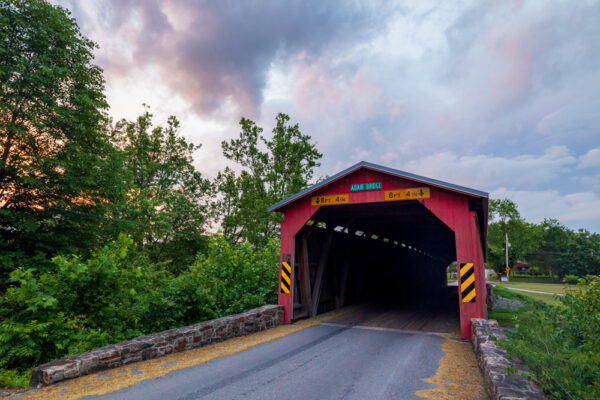 Front view of Adair's Covered Bridge in Perry County PA