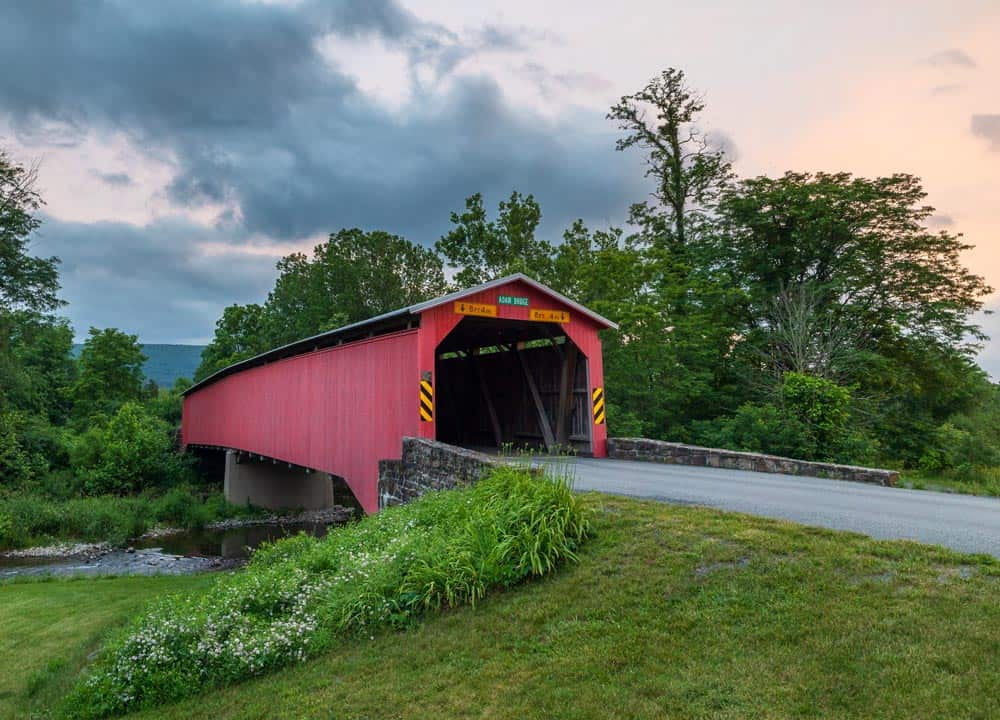 Sunset at Adair's Covered Bridge in Perry County Pennsylvania