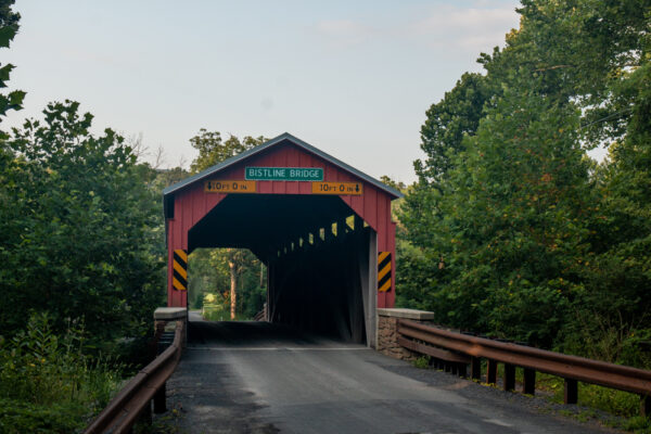 A front view of Bistline Covered Bridge in Perry County Pennsylvania