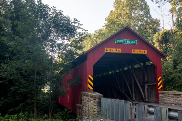A side view of Book's Covered Bridge.