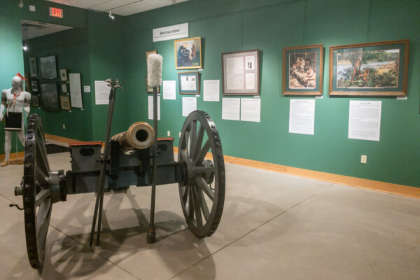 Cannon inside the Braddock's Battlefield History Center in Pittsburgh PA