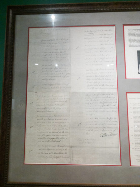 A replica of a letter written by General Braddock in Pittsburgh PA
