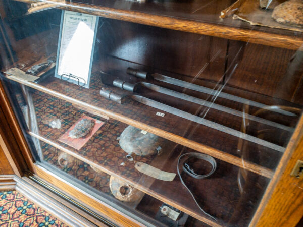 Civil War items on display at the GAR Room at the Carnegie Free Library in Carnegie PA