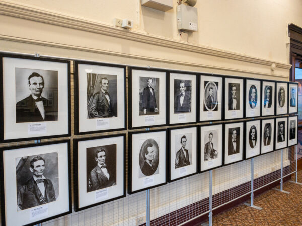 Photos of President Lincoln at the Lincoln Gallery in the Carnegie Library near Pittsburgh PA