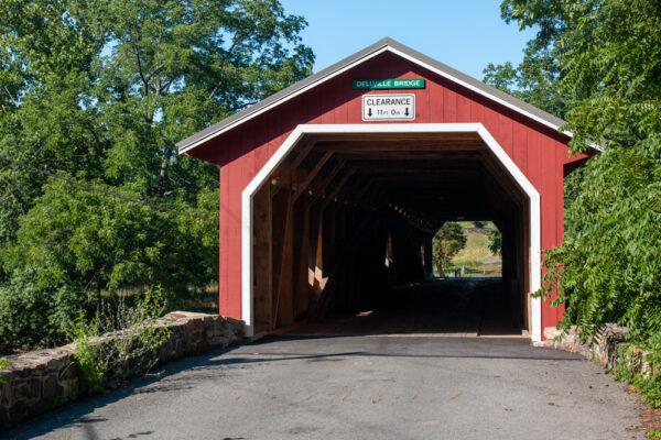 The entrance to Dellville Covered Bridge near Duncannon PA