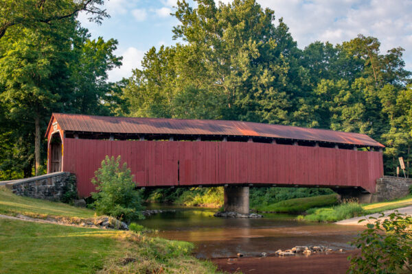 A side view of Enslow Covered Bridge in Perry County PA