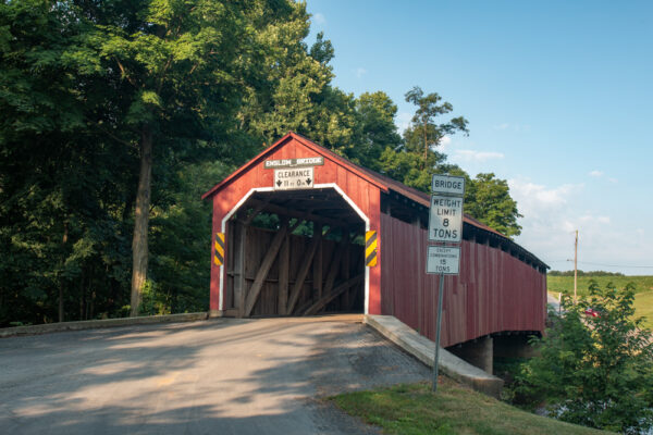 The front view of Enslow Covered Bridge in Perry County Pennsylvania