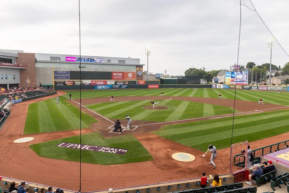 An Erie Seawolves baseball game in Erie PA