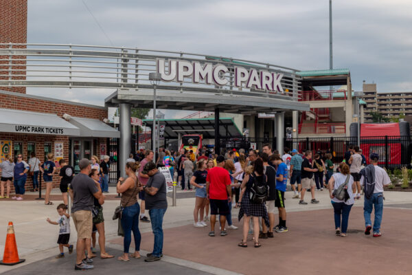 The entrance to UPMC Park in Erie, PA