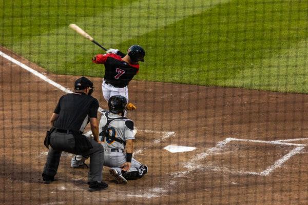 Batter swings during an Erie Seawolves baseball game